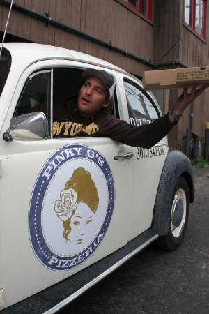 Pinky G's, Pinky G's Pizzeria, Pizza Delivery, Volkswagen Beetle, New York Style Pizza, Dining Jackson Hole, Dishing Jackson Hole, Jackson Hole Restaurants, Tom Fay, Dishing JH