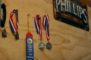 Cox's medals from homebrewing competitions.