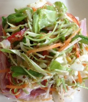 This is great with fish tacos, on a sandwich or a flavorful side dish.