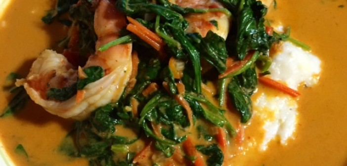Red Curry Shrimp with Grits