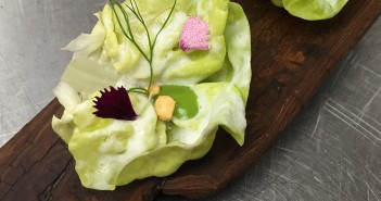 When asked how he develops his dishes, Stein said most of the time inspiration just hits him. Like with this take on a salad with Ranch dressing: butter lettuce cups filled with butter lettuce puree, buttermilk foam and dehydrated, fried potato.