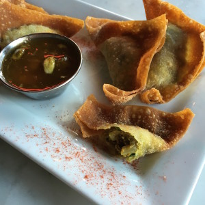 Bison wontons served with mango chutney. The chutney is similar to a sweet and sour sauce, but with Indian spices.